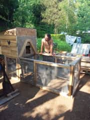 Construction of the lovely chicken coop.
