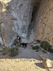 Margaret hiking with the stray dogs near the base of climbing walls in Northern Patagonia (January 2020).