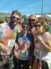 Orla and myself with friends we made while travelling last year who came to dublin for the 5k colour run
