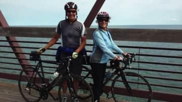 Richard, me, biking along Lake Superior