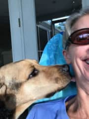 Doggie licks are good for chuckles!