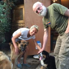Sonia meeting Charlie and his lovely tribe of dogs