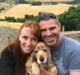 Clark and Tegan with Agathe (teddybear) the golden Spaniel in France