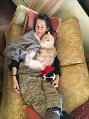 Me, Charlie - my cat and Karma, my grand dog