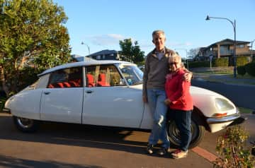 Craig and Deb with our Citroen DS. We had it for 19 years