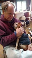 Tony with one of our hospice dogs.
