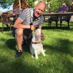 Peter with beagle Sara