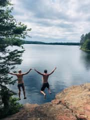 Leaping off of cliffs with previously mentioned great woman.