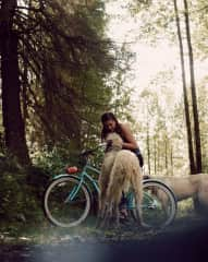 Bike riding with Ullr and Fern in Alaska
