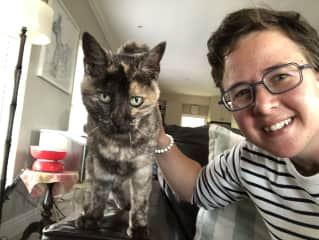 My beloved Lily (former landlords' old lady cat) and I