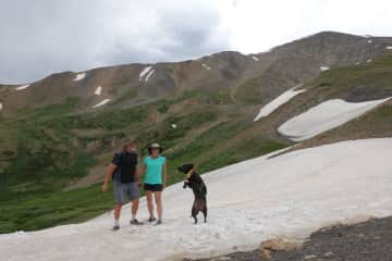 Playing in the snow with Layla at French Pass in Colorado.