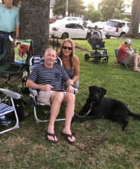 Concert in the park with Oliver, our lab/australian shepherd mix.