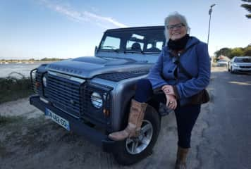 Danielle with her Land Rover, Guerande, France summer 2020
