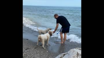 Teddy and Lola love the beach! We had great times with them at this place.