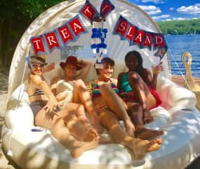 On my floating candy island with friends