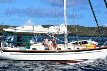 This is our boat taken February 2019 in Culebra, PR If you want to check out our  sailing blog it's:  www.svwhatevershewants.blogspot.com