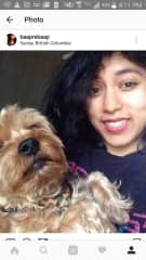 Me & a dog I took care of in Canada, Malcolm! I had the urge to hold him like a baby and he obliged