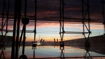 the Barcelona airport at dawn