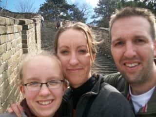 Lydi, Jennifer, and John at the Great Wall in China