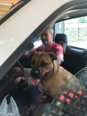 Miss Millie loves riding in the Ute