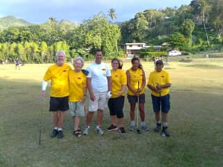Stephen and Stephanie as part of a social golf team in the Cook Islands