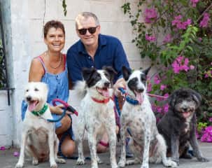 Claire, Roger and our 4 rescue dogs - Cookie, Ankarn, Panda & Lottie