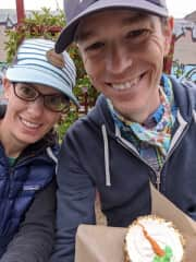 Us on one of our many bakery tours. This is the best dang carrot cake cupcake in Santa Cruz!
