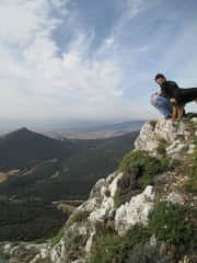 With Julian's cousin's dogs in northeast Spain