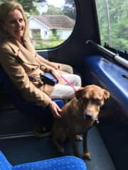 Marilyn taking Daisy on her first bus ride