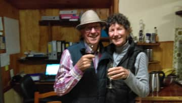 Glenn and Terrie celebrating our first winter in the Granite Belt Hospitality adventure.