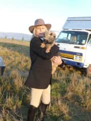 Karin w/ friends' dog in Otago.