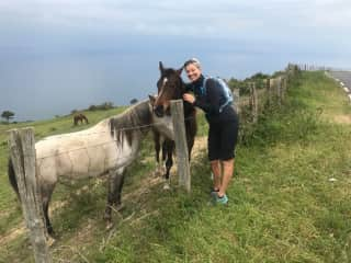 Audra with friendly locals in Basque Spain
