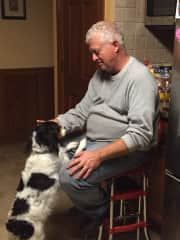Bailey getting some love from Dan (pet sitting)