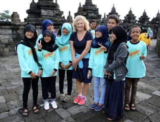 Answering questions from schoolchildren in Borobudur, Indonesia.