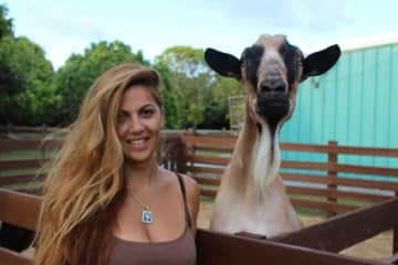 Me with Brownie our goat