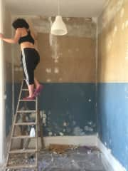 Helping my friend paint her new apartment.