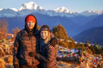 Hiking in Nepal, surrounded by Annapurna mountains