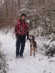 Rino with Linus (neighbour's dog)