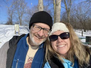 My husband and I love outdoor activities. Here we are cross country skiing.