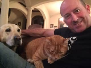 I grew up with cats and dogs. Me with Gunner and Fazio in Texas, USA