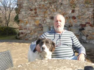 Back from our walk in the woods. Hariet and Duffie, Italy, March 2017