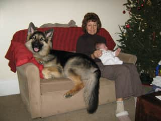 Me with our eldest son's German Shepherd - and granddaughter