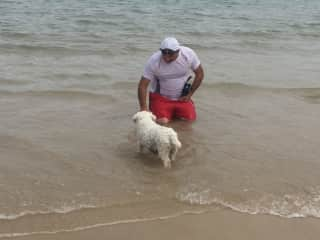 Lloyd with Frodo going for a swim in Brighton SA