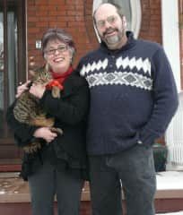 With husband Jay & cat Baxter, Christmas card 2012