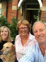 Me with labrador, Murray and parents, Lindsay and Tim in Dorset, UK