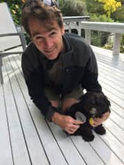 Ian pet sitting with Oscar