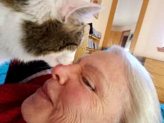Buddy nuzzling Marcy's nose 10/16/17