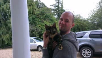 Son Matthew and Mouser at Bourn, UK