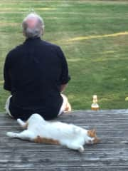 Doug and Benji enjoying our yard.