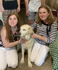 The dog I raised to be a seeing eye dog and his owner. He is retired from being a working dog, and is now a beloved pet.
